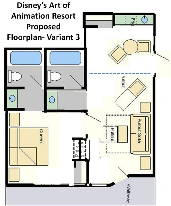 disney art of animation cars family suite floor plan